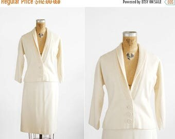 SALE // 1950s Skirt Suit - 50s Skirt Suit - Cream Wool Jacket And Skirt Set