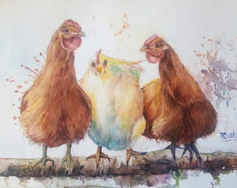 original watercolor, Hen Party, chickens