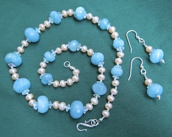 Blue Faceted Quartz, Cultured Pearl, & Crystal Necklace Earring Set