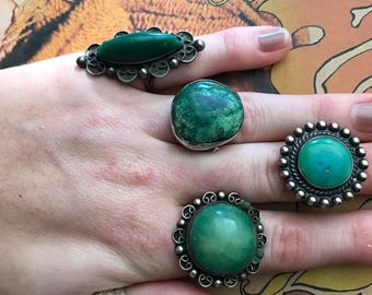 Vintage Huge Old Ring Green Onyx Stone 5 3/4