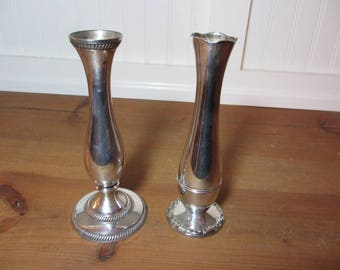 2 Silver Plate Bud Vases, Silverplate China & India, Shabby Chic Wedding, Silverplated, Staging