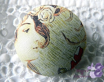 Button printed fabric woman, 0.86 in / 22 mm