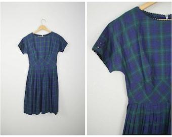 vintage 50s blue green plaid short sleeve bobbie Brooks dress -- womens small --33-25-free