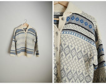 vintage 70s 80s norwegian wool blue ivory gray fair isle winter nordic cardigan sweater -- womens large
