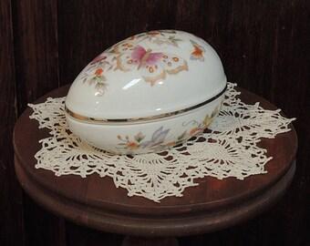 Vintage Porcelain EASTER EGG Trinket Box W Lid.. Floral Butterflies Avon 22K Gold Trim (#1)