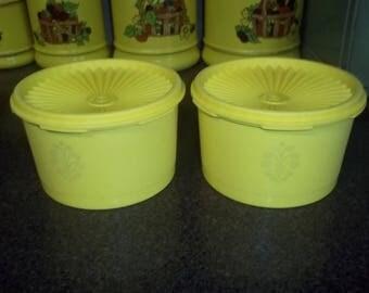Vintage Tupperware 2 Yellow Servalier Storage Bowls -  with lids!