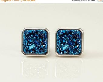 40 OFF - Blue druzy studs - Stud Earrings - Silver Druzy Stud Post Earrings - Silver Stud - Square Studs - Druzy Studs