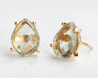 Green Amethyst Stud Earrings -Bridesmaids Earrings - Post Earrings - Gold Stud Gemstone Earrings - Teardrop Studs - Prong Set Studs