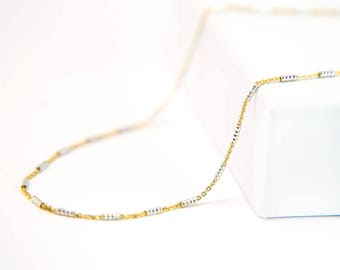 Two Toned Metal Choker, Minimalist Gold Silver Choker Necklace, Mixed Metal Chain, Gold Boho Choker, Dainty Chain Necklace, Simple Jewelry