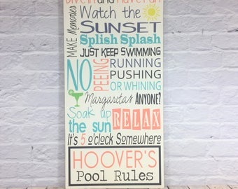 Pool Sign, Pool Rules Sign, Personalized Pool Sign, Swimming Pool Sign, Pool Decor, Custom Pool Sign, Swimming Pool Rules Outdoor Sign