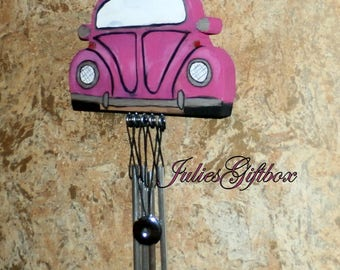 Wind Chime Magenta Volkswagon Bug-Silver Tone Chimes-Hematite Gemstone-Unique-One of A Kind