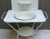 RARE Vintage White French Washstand, Child's French Washstand, French Painted Metal Washstand, White Metal Wash Stand, Child's Furniture