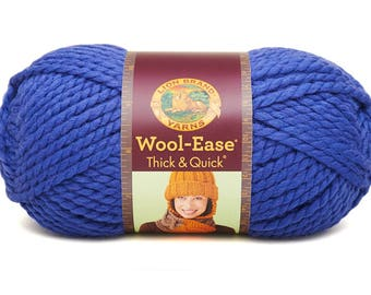 DeStash Yarn - Lion Brand Wool Ease Thick & Quick, Super Bulky Wool Blend Yarn, Cobalt Blue