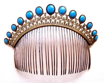 Regency fire gilded tiara comb faux turquoise opaline glass hair accessory headdress headpiece decorative comb hair ornament