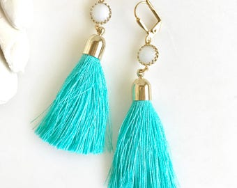 Turquoise and White and Gold Tassel Earrings.  Long Tassel Earrings.  Gold Statememt Earrings. Holiday Tassel Jewelry. Statement Earrings.