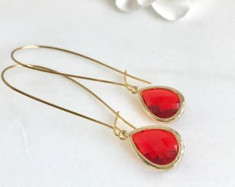 Red Teardrop Dangle Earrings. Red Drop Earrings. Red Dangle Earrings. Christmas Gift. Holiday Jewelry. Christmas Gift. Stocking Stuffers.