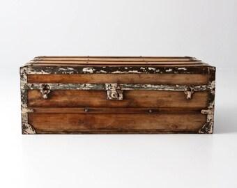 antique trunk, wooden gaucho trunk storage