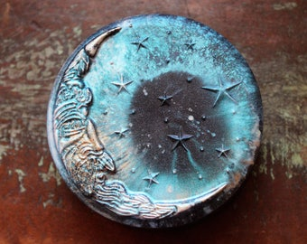 Galaxy Half Moon Soap, Filigree Design Waning Crescent Moon Soap, Lunar Moon, Glow in the Dark, Man in the Crescent Moon Soap