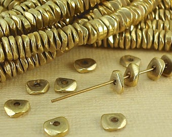 20 Brass Wavy spacer Chip beads 6mm Heishi Pukalet Natural Metal Raw Solid Brass Beads african BoHo faceted beads