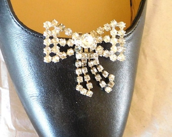 Shoe Clips Vintage Rhinestone Bows TIPTOE Art Deco Special Occasion Bride New Years