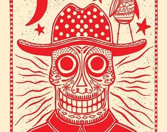 Sugar Skull Screen Printed Art Print