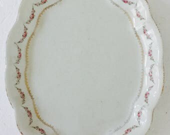 Lovely Oval Platter Floral Trellis and Gold Rustic Border