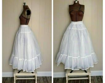 Vintage Crinoline Petticoat / Long Slip / White Tulle Undergarment / Bridal  Wedding / Formal Prom