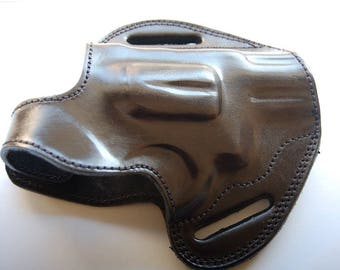 Smith & Wesson 686 Plus 2.5,3 Barrel  Leather Belt Handcrafted Holster Tan Black