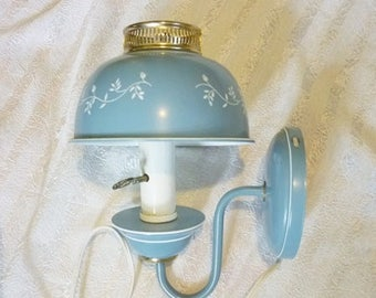 Toleware Blue White Wall Sconce Lamp Works,Colonial Blue Metal Wall Light