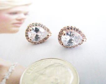 Rose Gold Wedding Earrings Cubic Zirconia Earrings Wedding Jewelry Bridal Accessory Bridal Earrings Bridesmaid Earrings