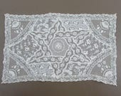"Antique Hand Pieced White Net Lace - 13"" x8"""