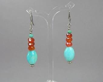 Carnelian & Turquoise Earrings, Sterling Wires, Pierced, Faceted, Dangle Earrings, Boho, Hippie, Retro