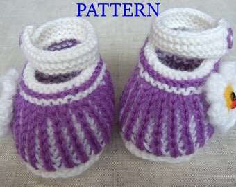 Knitted baby booties 'striped' (PDF pattern), (sizes 0-3/3-6/6-12 months)