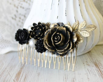 Black Wedding Hair Piece - Wedding Hair Comb - Gold Bridal Hair Comb - Black Wedding Hair Accessories - Flower Hair Comb - Floral Hair Comb