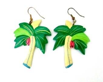 Vintage Wooden Palm Tree Earrings // Pierced Dangling Beach Kitsch Jewelry