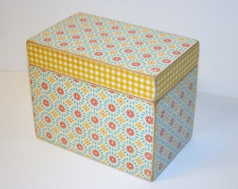READY TO SHIP, Yellow Red and Aqua Recipe Box, 4x6 Wood Box, Yellow Gingham Box, Retro Recipe Box, Yellow Kitchen, Vintage Style Recipe Box