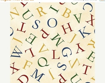 SALE Hungry Animal Alphabet, Toss Letter,  Quilting Treasures Fabric, 1/2 Yard