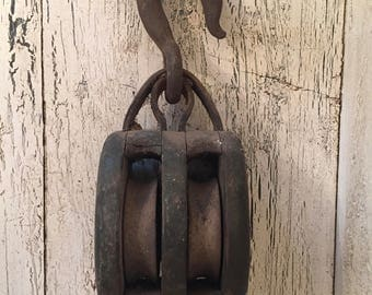 Huge Vintage Block and Tackle - Large Barn Pulley - Nautical Wood and Iron Pulley