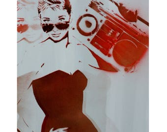 Audrey Hepburn Painting Boombox at TIFFANY'S 16 x 20 Portrait Original Artwork Stencil and Spray Paint Graffiti Inspired Hollywood Painting