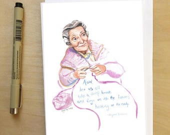 Elizabeth Zimmermann, portrait and Inspiring quote, 5x7 card, Ready to Ship