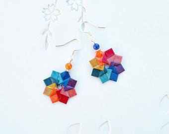 Origami Jewelry - Origami Rainbow Wreath Earrings with Surgical Steel Hooks No.03495