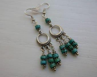Silver Turquoise Dangle Boho Earrings