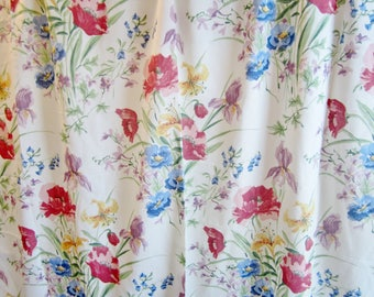 Vintage Shower Curtain COLORFUL FLOWERS 1990s