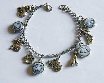 Bracelet with resin pendants * GREY CAT *