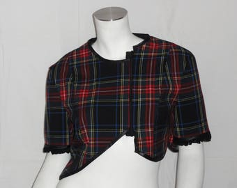 Short bolero Halter type wool blue jacket