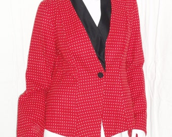 classic red wool striped cowl shawl black satin jacket