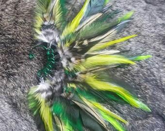 Green Feather Ear Cuff - Left Ear
