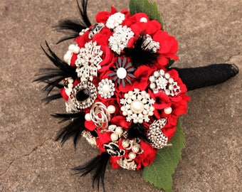 Red Brooch Bouquet Goth Gatsby red black feathers vintage bouquet, Deposit only
