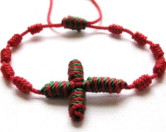 Knotted Rosary Bracelet•Christmas Bracelet•Red-Green 100% Nylon Cord•Confirmation•First Communion•Holiday Rosary Wrap•KN0019•Our Lady Beads