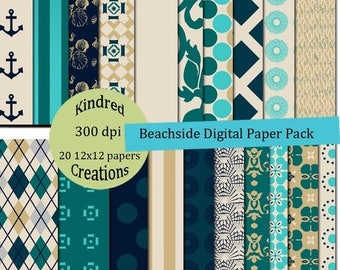 ON SALE Beachside 12x12 Digital Paper Pack 300 dpi Printable small business use